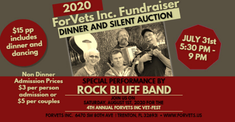RockBluff Band ForVets Fundraiser 2020 Dinner and Silent Auction